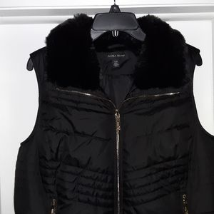 New Ivanka Trump Puffer Faux Fur Collar Vest